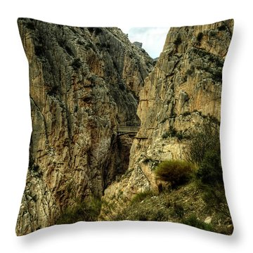 Throw Pillow featuring the photograph El Chorro View Of The Railway Bridge by Julis Simo