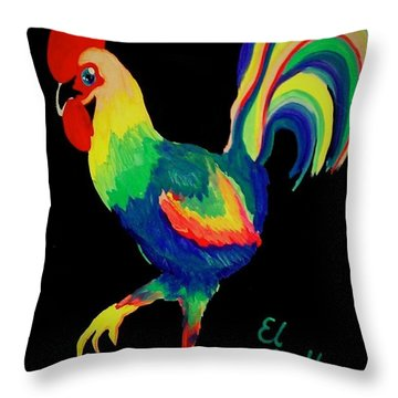 Throw Pillow featuring the painting El Gallo by Marisela Mungia