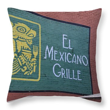 Throw Pillow featuring the photograph El Mexicano Grille by Jerry Bunger