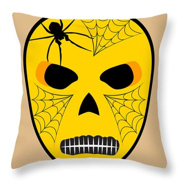 El Telarana Luchador Black Beige Yellow Throw Pillow