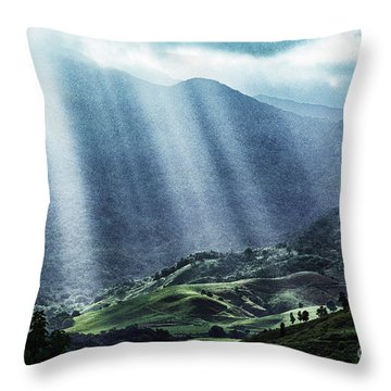 El Yunque And Sun Rays Throw Pillow by Thomas R Fletcher