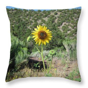 Elated Sunflower Throw Pillow