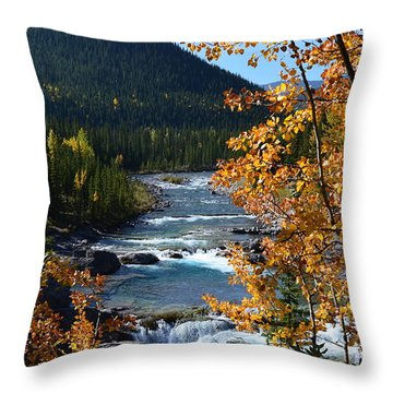 Elbow River View Throw Pillow by Cheryl Miller