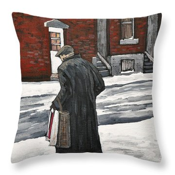 Elderly Gentleman  In Pointe St. Charles Throw Pillow by Reb Frost