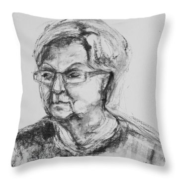 Elderly Lady With Glasses Throw Pillow by Barbara Pommerenke