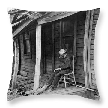 Elderly Man Doses On His Porch Throw Pillow by Underwood Archives