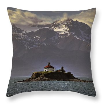 Eldred Rock Lighthouse Alaska Throw Pillow