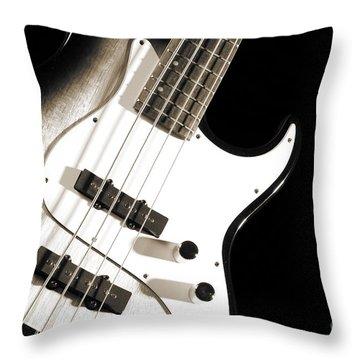 Electric Base Guitar Photograph In Sepia 3322.01 Throw Pillow
