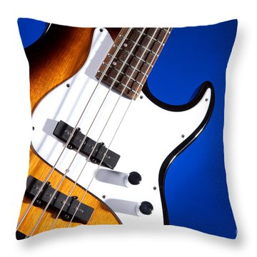 Electric Bass Guitar Photograph On Blue 3322.02 Throw Pillow