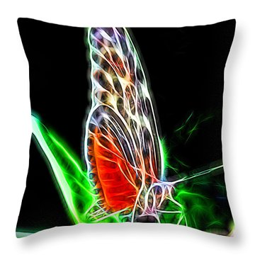 Electric Butterfly Throw Pillow