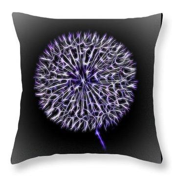 Electric Dandelion Throw Pillow by Richard Farrington