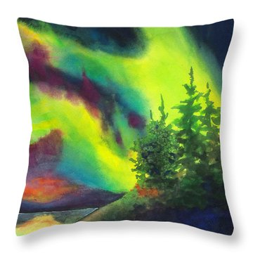 Electric Green In The Sky 2 Throw Pillow by Kathy Braud