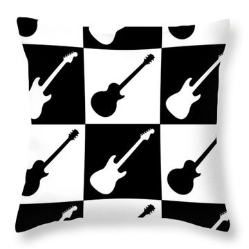 Electric Guitar Checkerboard Throw Pillow by Roz Abellera Art