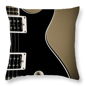 Electric Guitar Photograph In Black And White Sepia 3319.01 Throw Pillow