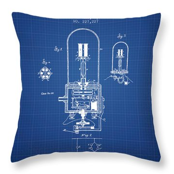 Electric Light Patent From 1880 - Blueprint Throw Pillow