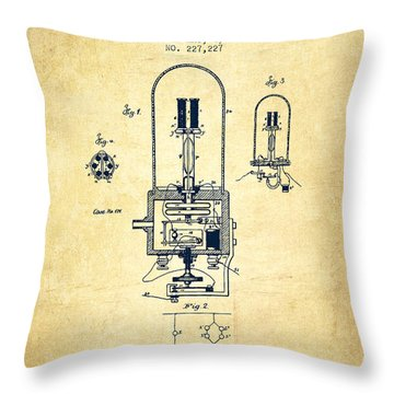 Electric Light Patent From 1880 - Vintage Throw Pillow