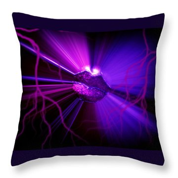 Electric Lips Throw Pillow