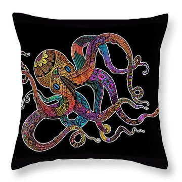 Throw Pillow featuring the drawing Electric Octopus On Black by Tammy Wetzel