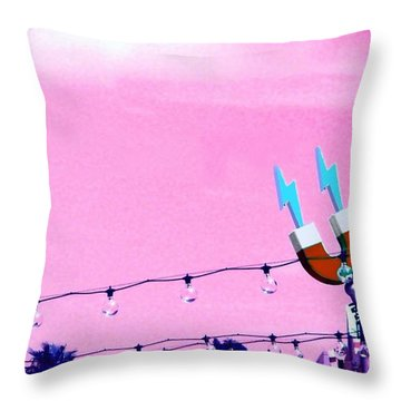 Electric Pink Throw Pillow by Valerie Reeves