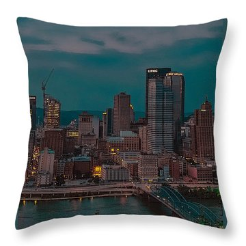 Electric Steel City Throw Pillow
