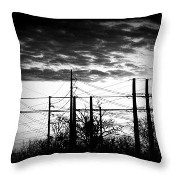 Electric Sunset Two Black And White Throw Pillow