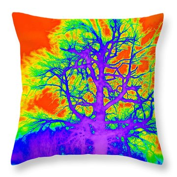 Throw Pillow featuring the photograph Electric Tree by Jodie Marie Anne Richardson Traugott          aka jm-ART