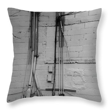 Electric Wall In Black And White Throw Pillow by Rob Hans
