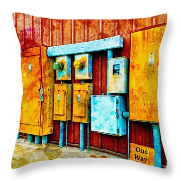 Electrical Boxes Iv Throw Pillow