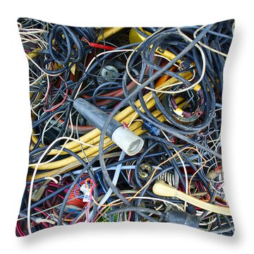 Electrical Cord Picking Throw Pillow