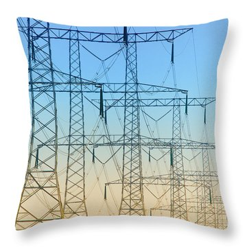 Electricity Pylons Standing In A Row Throw Pillow by Nick  Biemans