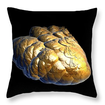 Throw Pillow featuring the digital art Electrified Gold Nugget by Pete Trenholm