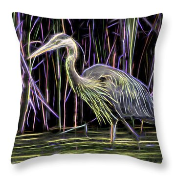 Electrifying Great Blue Heron Throw Pillow