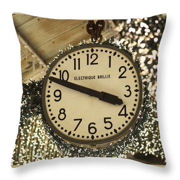 Electrique Brillie Clock In Chelsea Market Throw Pillow by Rona Black