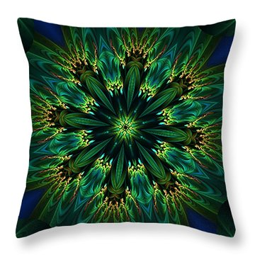 Elegance Green Kaleidoscope Throw Pillow