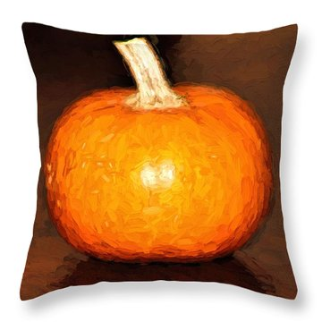 Elegant Autumn Orange Pumpkin Rustic Table Painting Throw Pillow