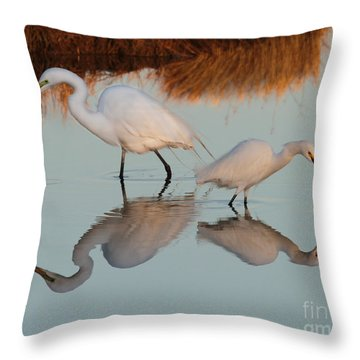 Elegant Big And Small Great White And Snowy Egrets Throw Pillow
