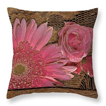 Elegant Gold Lace Throw Pillow