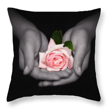 Elegant Pink Rose In Hands Throw Pillow by Tracie Kaska