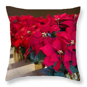 Elegant Poinsettias Throw Pillow by Patricia Babbitt