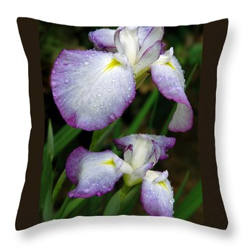 Elegant Purple Iris Throw Pillow by Marie Hicks