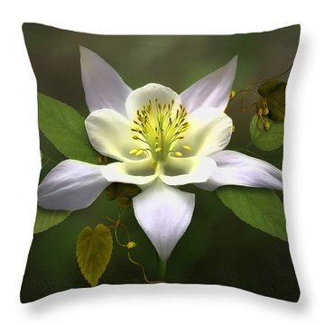 Elegant White Columbine Throw Pillow