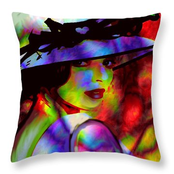 Throw Pillow featuring the digital art Elegant Woman In Shade by Diana Riukas