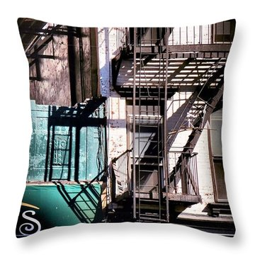 Elemental City - Fire Escape Graffiti Brownstone Throw Pillow by Miriam Danar