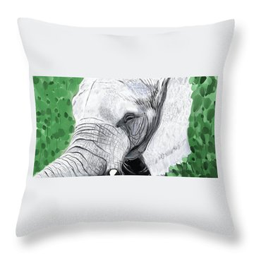 Throw Pillow featuring the painting Elephant 1 by Jeanne Fischer