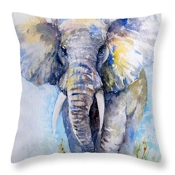 Elephant Blues Throw Pillow