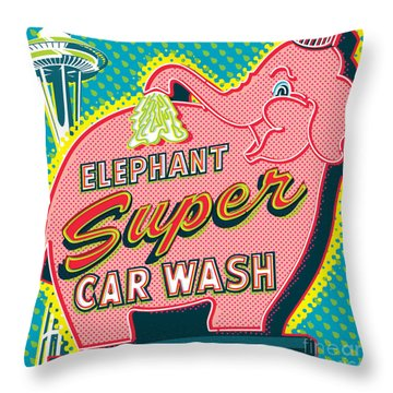 Elephant Car Wash And Space Needle - Seattle Throw Pillow
