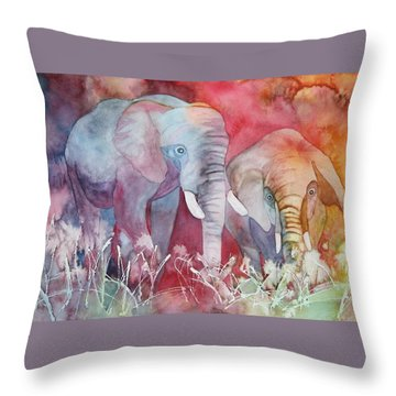 Throw Pillow featuring the painting Elephant Duo by Nancy Jolley