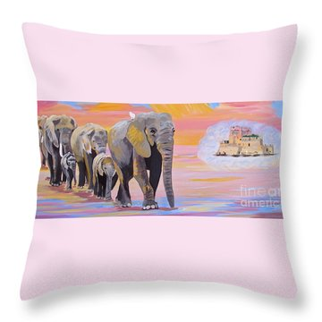 Elephant Fantasy Must Open Throw Pillow