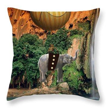 Elephant Flight Throw Pillow by Marvin Blaine