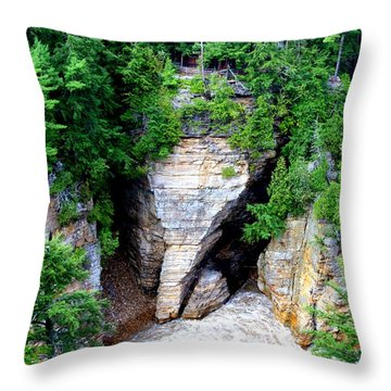Elephant Head Rock Throw Pillow by Patti Whitten
